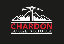 Chardon Local Schools logo - black background, red and white writing, and white mountain axe