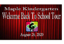 Maple Kindergarten Welcome Back to School Tour video screenshot plus G-TV logo