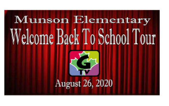 Munson Elementary Welcome Back to School Tour video screenshot plus G-TV logo
