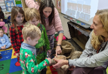 Mrs. Whiting's Class with Woolly Mammoth Bones in 2019-20
