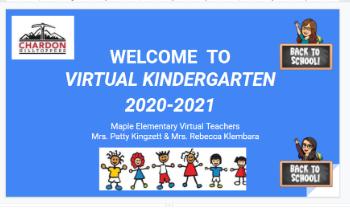 Slide 1 of Welcome to Virtual Kindergarten 2020-21 Presentation