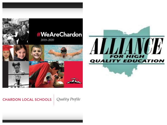 Chardon Schools 2019-20 Quality Profile cover pg and The Alliance for High Quality Education logo
