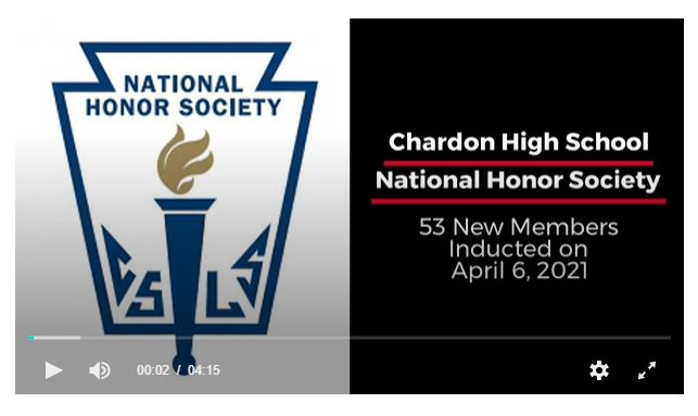 First Slide of CHS NHS Inducts 53 New Members Video - includes National Honor Society logo