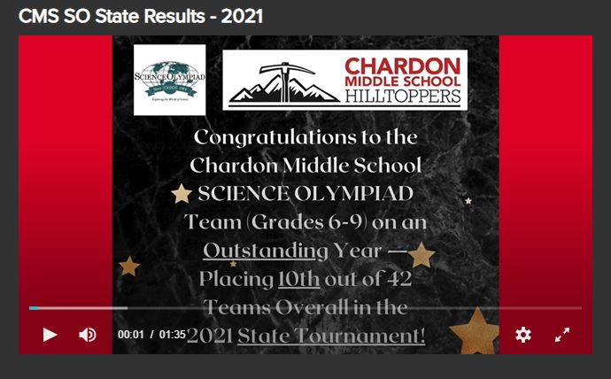 First Slide of CMS Science Olympiad State Results 2021 Video