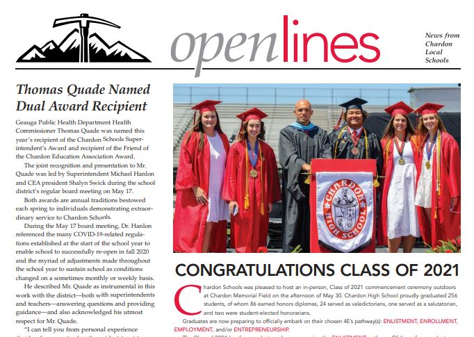 Front cover (snapshot of) 1st page of Open Lines Newsletter - Summer 2021