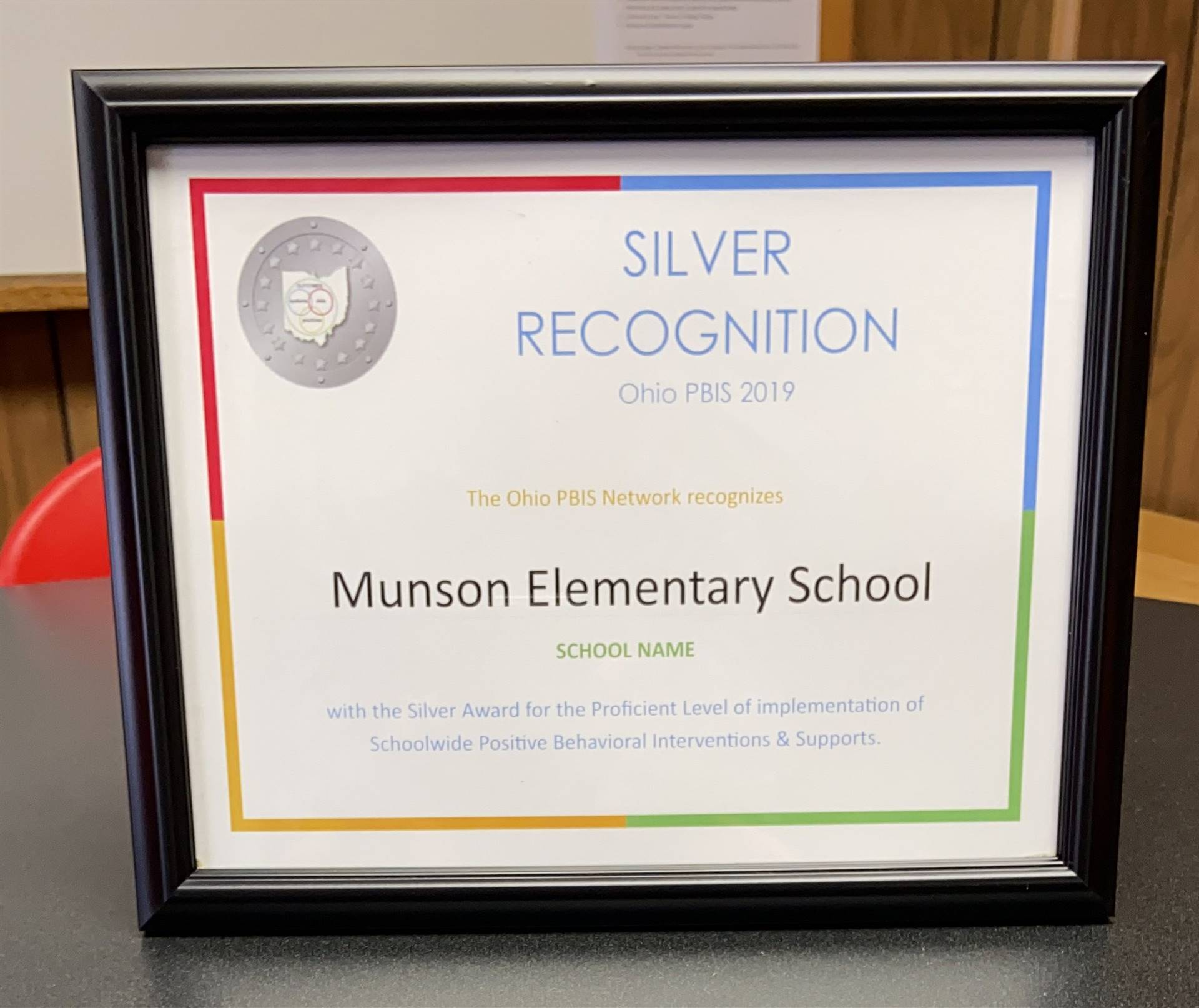 Munson Elementary Earns Silver Recognition in PBIS - Fall 2019