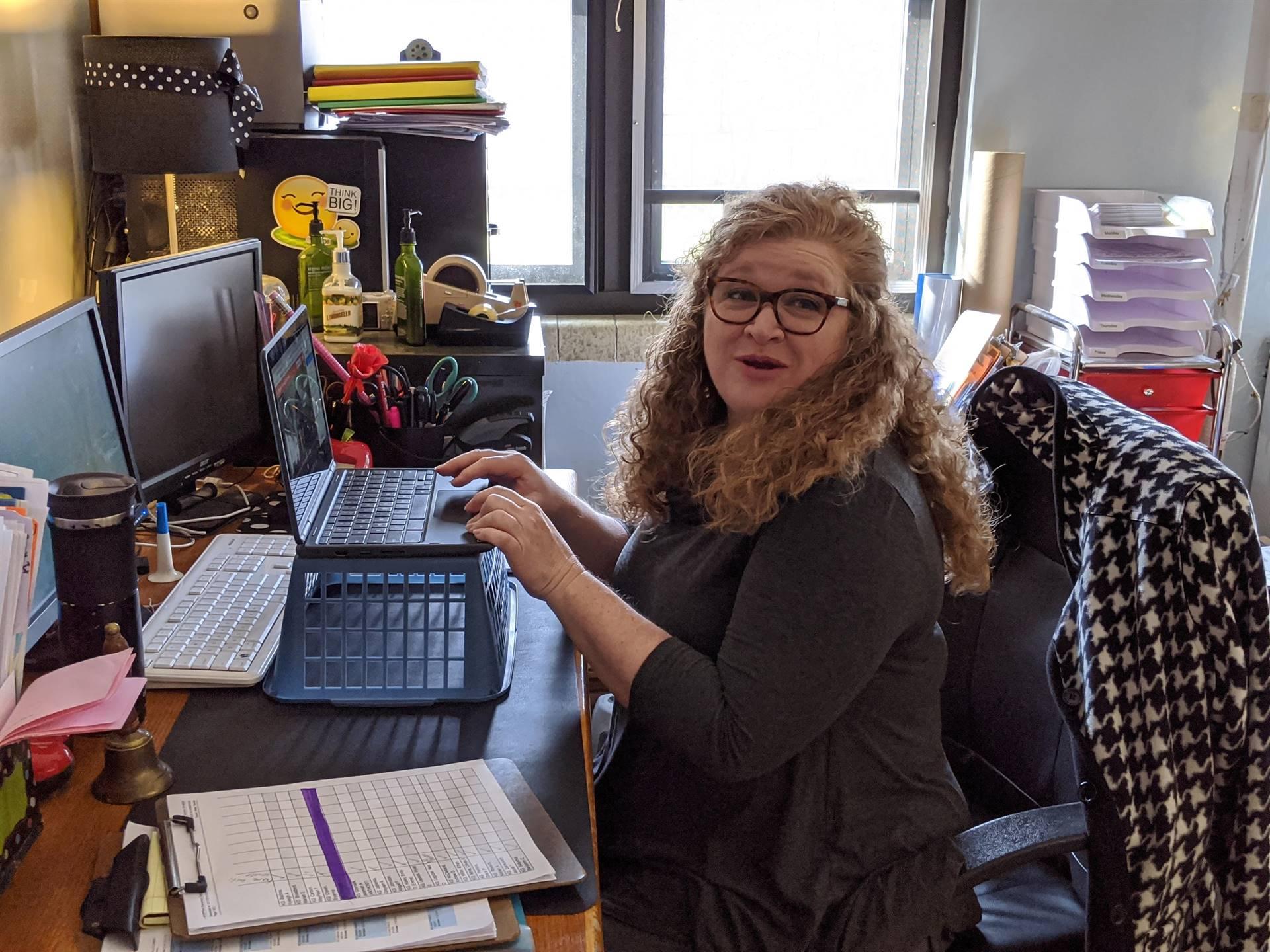 Park Elementary teacher, Mrs. Setzer, preparing for remote learning.