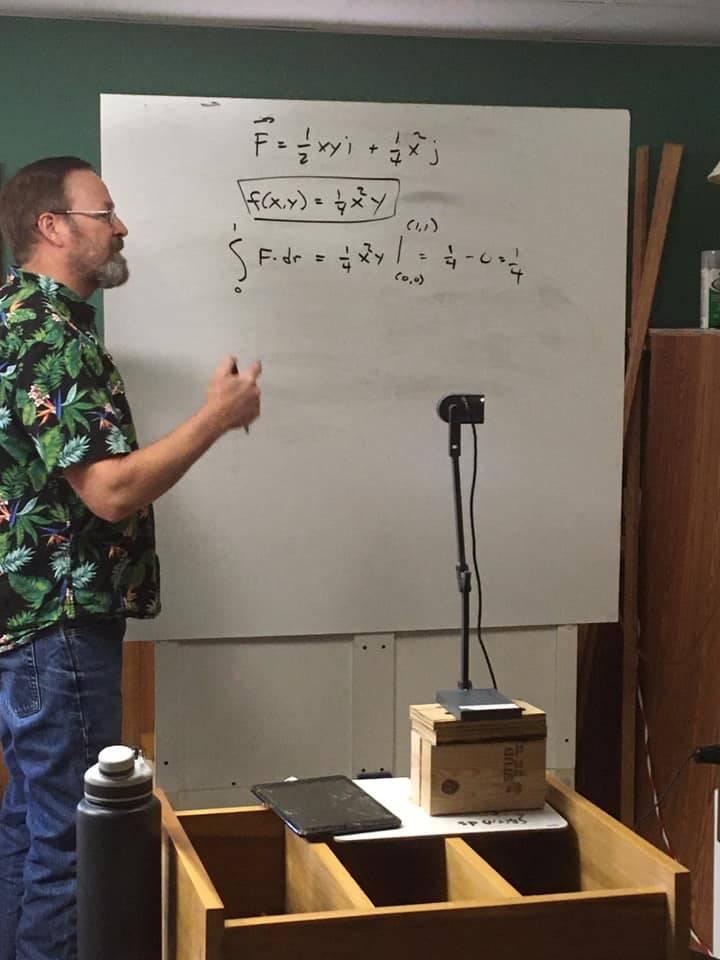 CHS Teacher Mr. Brown engaged in remote teaching.