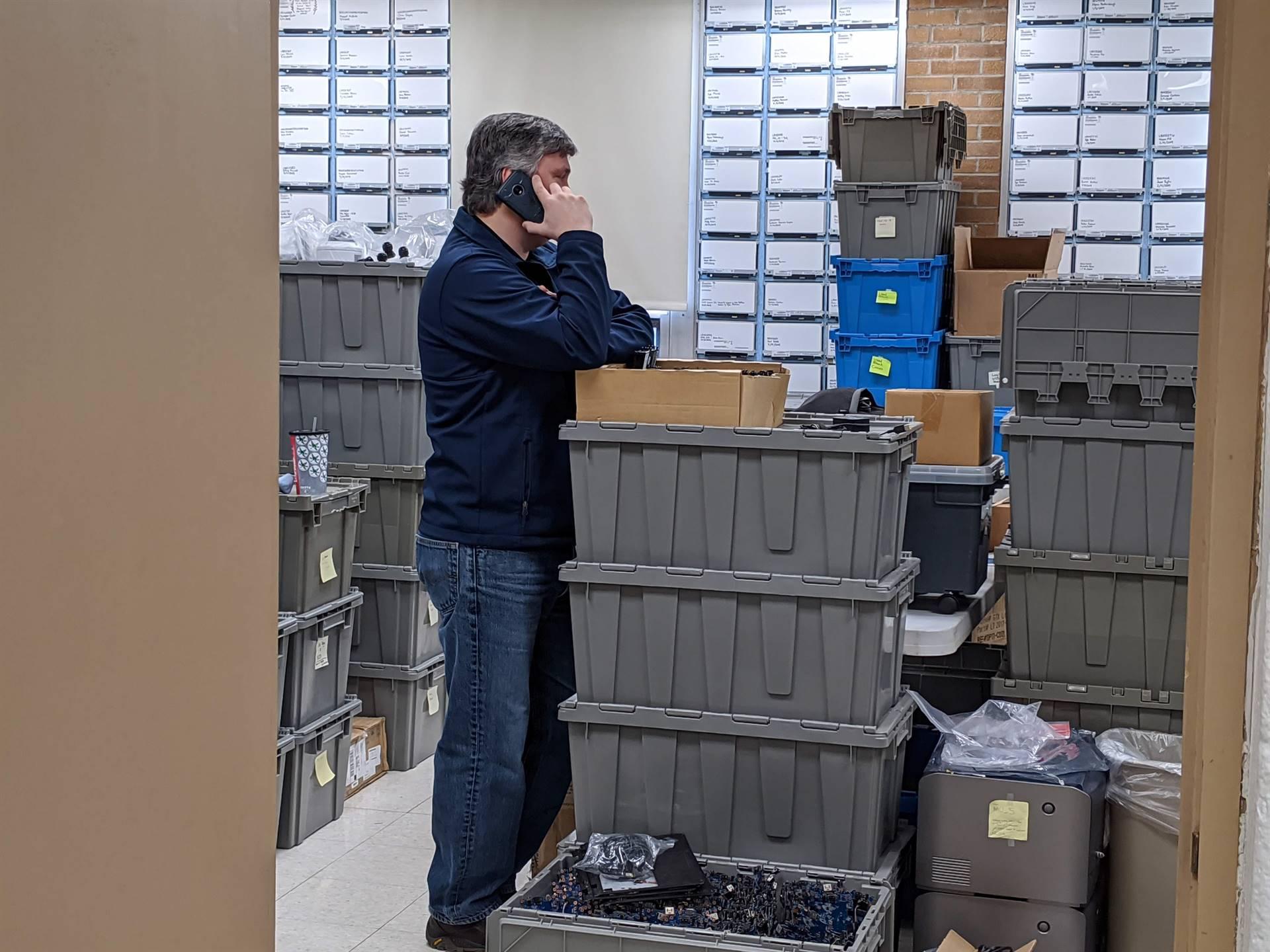 Technolgoy Director Bill Nells on a phone call.