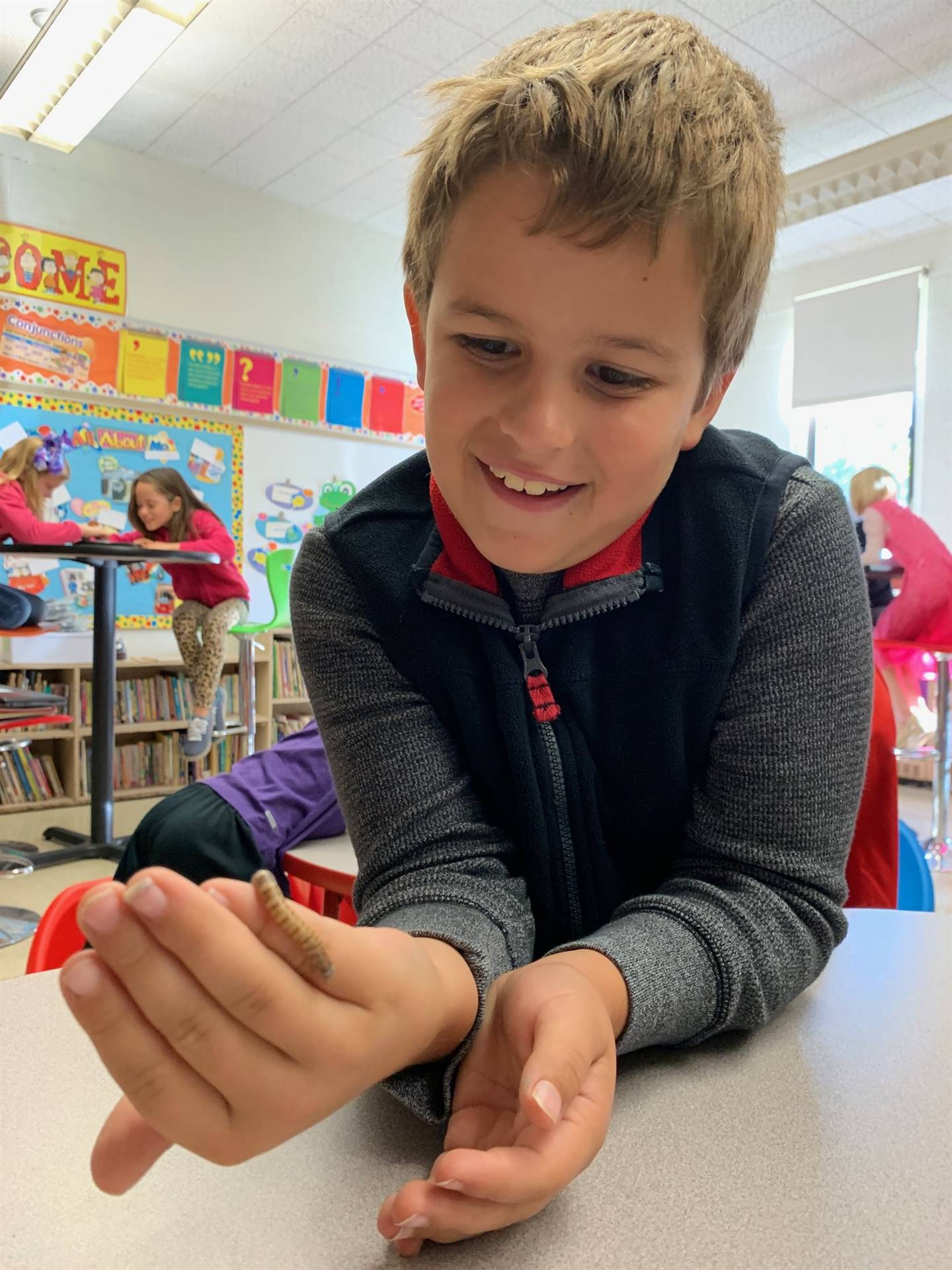 Munson Elementary student on Bug Day - October 2019