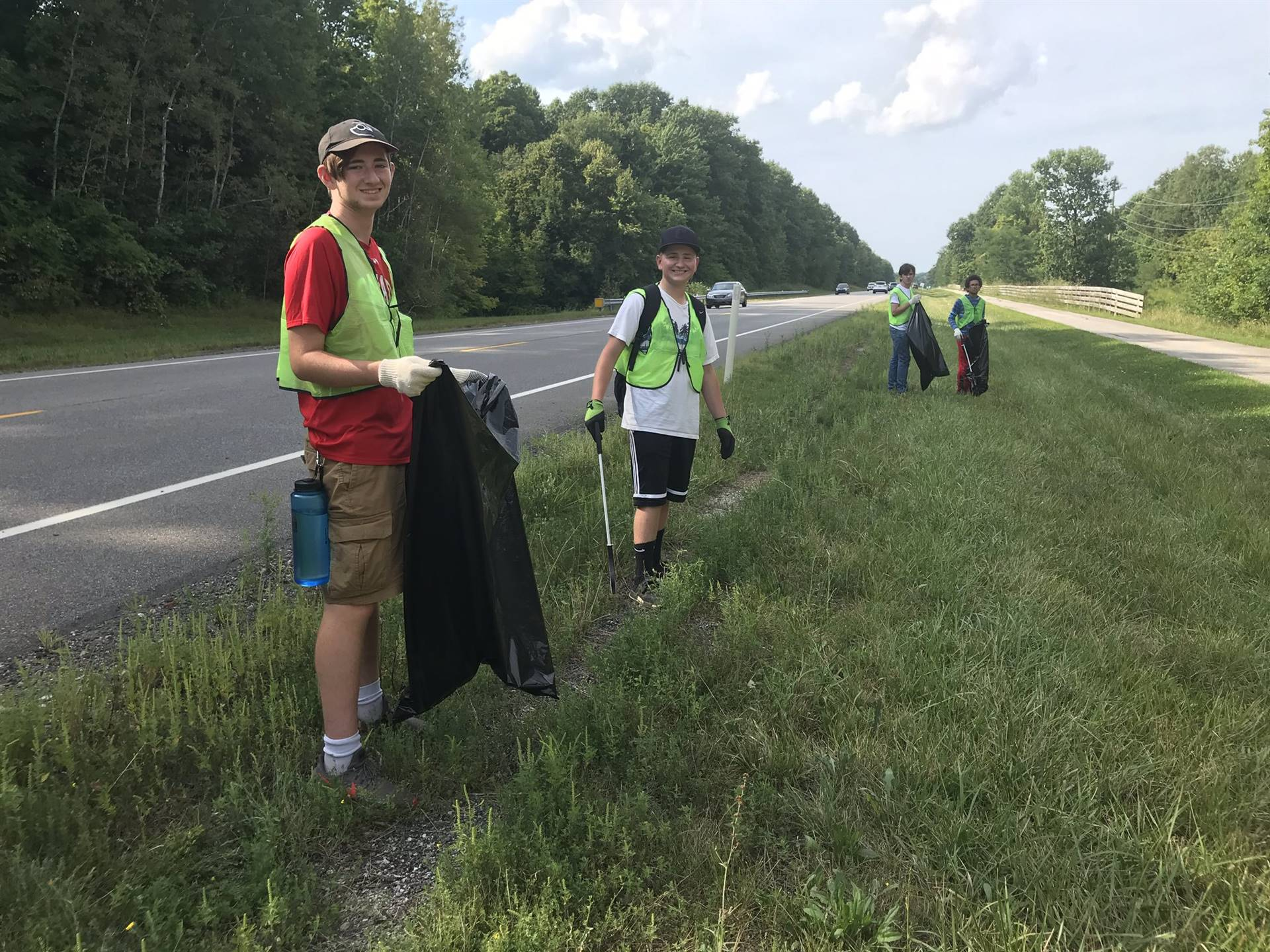 CHS students engaged in community service - cleanup on Route 44.
