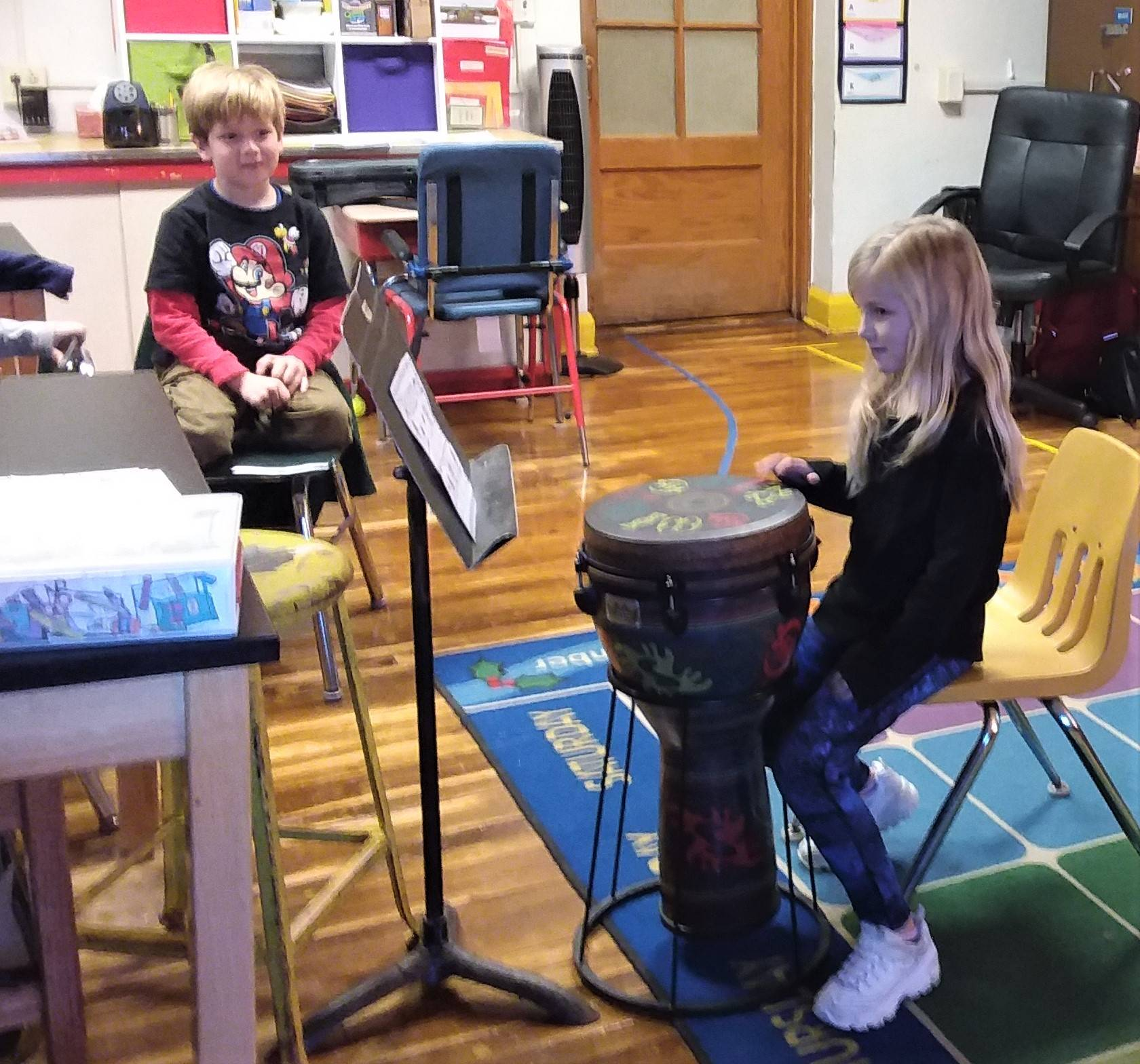 Park Elementary Students Engaged in Syllable-Sounding in Mrs. Puterbaugh's Music Class