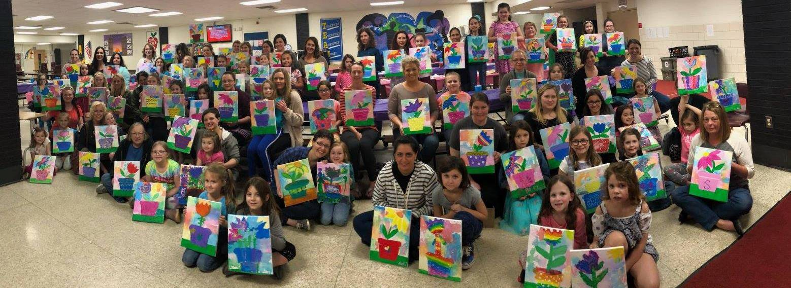 Photo 3:  Geauga Paints Mother/Daughter night at Park Elementary School - mass group photo of all pa