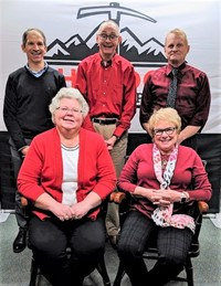 Board of Education Members:  back row (l to r) Keith Brewster, Dr. Guy Wilson, and Paul Stefanko; front row (l to r) Karen Blankenship and Madelon Horvath