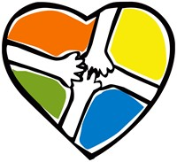free clipart:  image of black outlined heart with four sections of color and outstretched hands in each quadrant